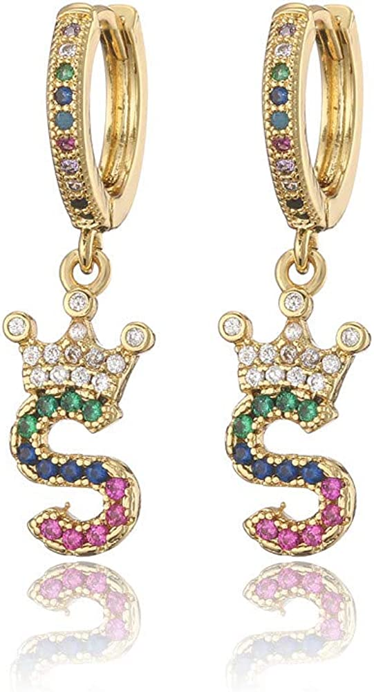 Gold Plated Super beauty product restock quality OFFicial site top Crown Initial Earrings Hoops Women Small Huggie for