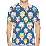 hyjhytj Men's Heather Cotton Poly T-Shirt Beautiful Hand Drawn Watercolor air Balloons Balloon Painting