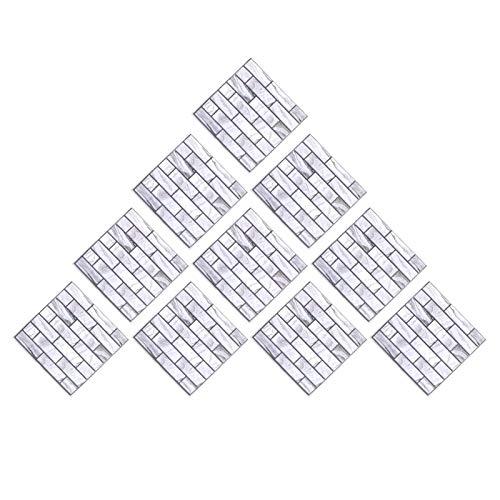 HERCHR 10 unids/Set de baldosas para pelar y Pegar, Adhesivo Autoadhesivo para Pared, Adhesivo para Azulejos para Evitar colisiones para decoración del hogar, 30 x 30 cm