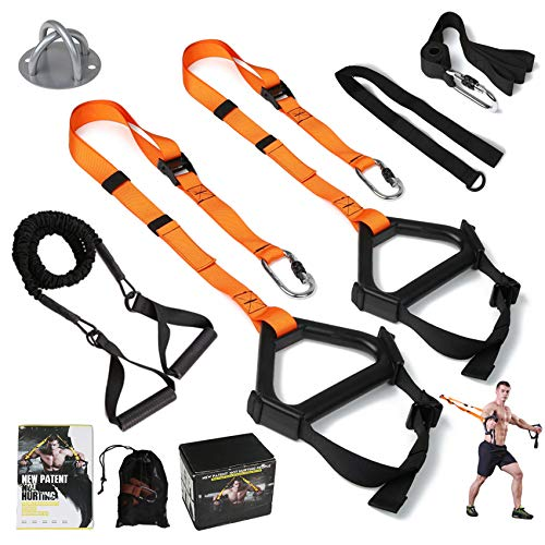 Image of the MOULYAN Bodyweight Resistance Training Straps Complete Home Gym Fitness Trainer kit for Full-Body Workout Easy Setup Gym Home Outdoors
