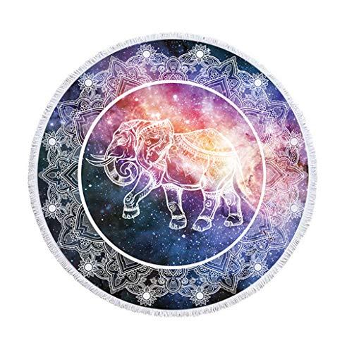 Sticker Superb Vistoso Animal Redondo Toalla de Playa con Borla,Grande 59 Pulgadas Indio Galaxia Estilo Hip Hop Estera de Yoga Manta de Playa para Niños Mujer y Hombre (Bohemia, 150 cm)