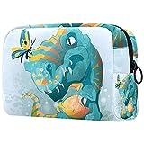 Neceser neceser bolsa de cosméticos con cremallera bolsa de viaje pequeña bolsa de cosméticos para mujeres y hombres (estilo multicolor) lindo bebé Trex dinosaurio jugando con mariposa