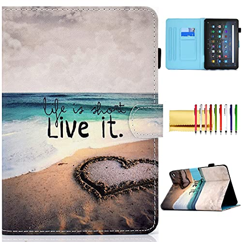Folio Cover for Fire HD 10 11th Gen, 2021 Fire HD 10 Plus Case, Techcircle Slim Stand Soft Back Pen Loop Card Holder Wake/Sleep Wallet Case for All-New Amazon Fire HD 10/10 Plus 2021, Love Beach