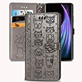 Gloryshop Cat Dog Wallet Case Compatible with Samsung Galaxy A52 5G [Stand Feature][Wrist Strap][Card Slots] - Grey