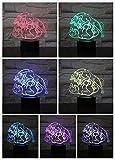 LED Night Light Wolf Moon Head Patrón de perro Rugido Aullido Animal Niños Decoración del hogar Novedad Iluminación Lámpara 3D