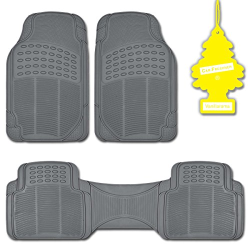 All Weather Gray 3 Piece Heavy Duty Diamond Car Rubber Mats for TRUCKS