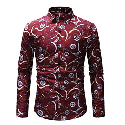 Ocuhiger Camisa De Vestir Clásica De Moda para Hombres Camisa De Negocios Informal De Ajuste Estándar Regular Slim Tops De Manga Larga con Botones Blusa Estampado Floral Rojo