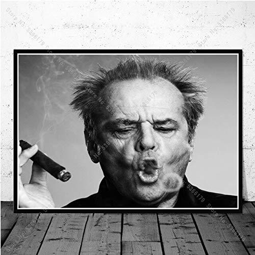 shuimanjinshan Pintura al óleo Negro Blanco Jack Nicholson Clásico Actor de Cine Póster Impresión Arte de la Pared Cuadro de la Lona Decoración para el hogar 50x70CM Sin Marco H-2756