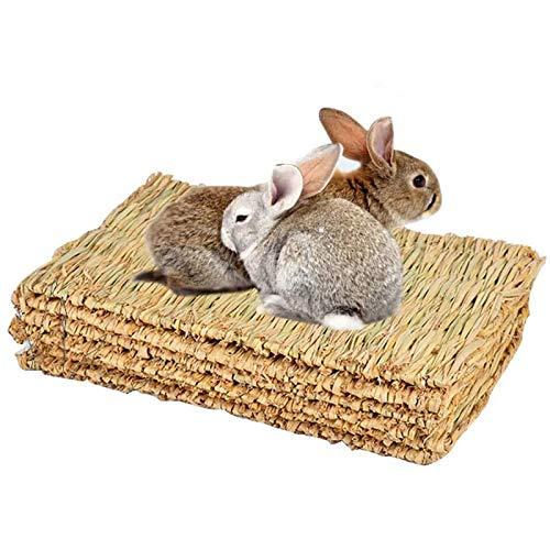 Tfwadmx Rabbit Grass Mat,16.5''x11'' Natural Woven Seagrass Mat Bunny Bed Chew Mat Sleep for...