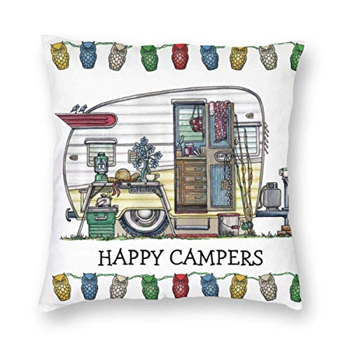 "Fcdraon Retro RV Vintage Camper Travel Trailer Square Home Decor Square Throw Pillowcase Pillow Protector Best Pillow Cover for Bed 26""x26"""