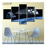 CAISYE Leinwanddruck HD Gemälderahmen Moderne Wohnzimmer 5 Panel Star Wars Szene Wandkunst Modulare Dekoration Bild Segeltuch Poster,A,30x50x2+30x70x2+30x80x1