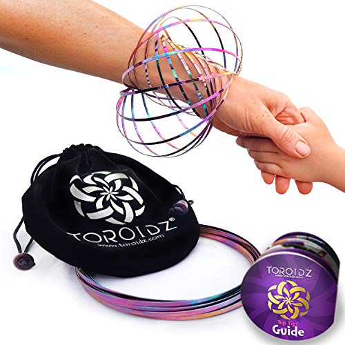 Toroidz  Flow Rings (Rainbow) w/ Official Velvet Bag - Amazing Magic Science Toy - 3D ARM SPRING - Interactive Museum, Circus, Anti Stress, Festival - All Ages