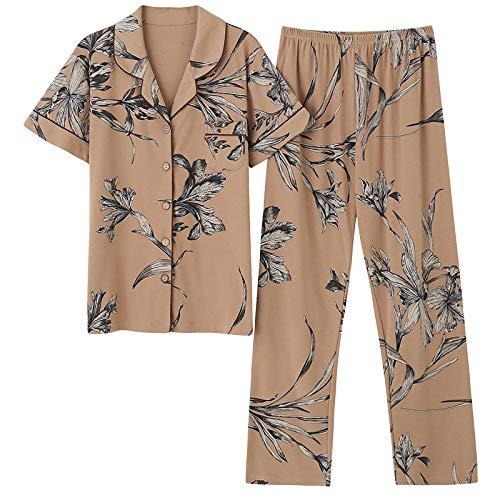 DFDLNL Conjunto de Pijamas de algodón para Mujer de Mediana Edad, Pantalones Largos de Manga Corta, 2 Piezas/Conjunto, Pijama de Verano, Talla Grande, Ropa de Dormir para el hogar para mamá L
