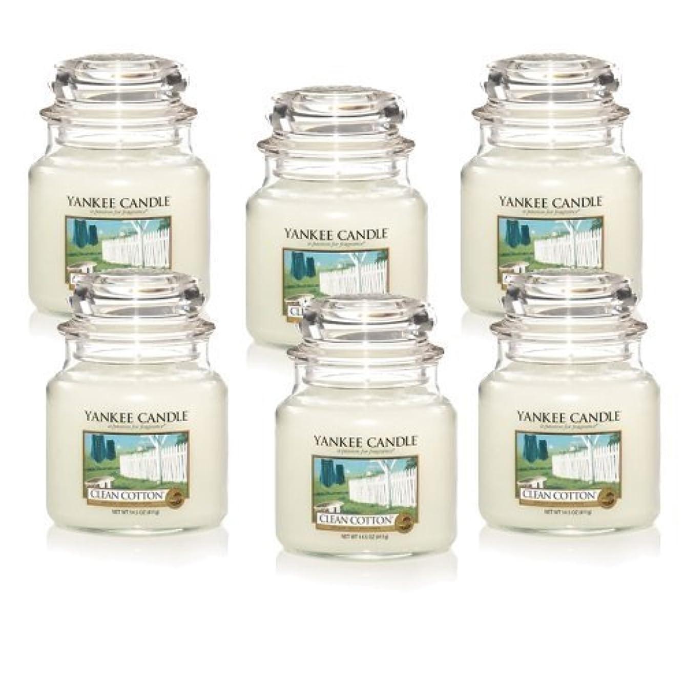 選挙輪郭密輸Yankee Candle Company Clean Cotton 14.5-Ounce Jar Candle, Medium, Set of 6 by Amazon source [並行輸入品]