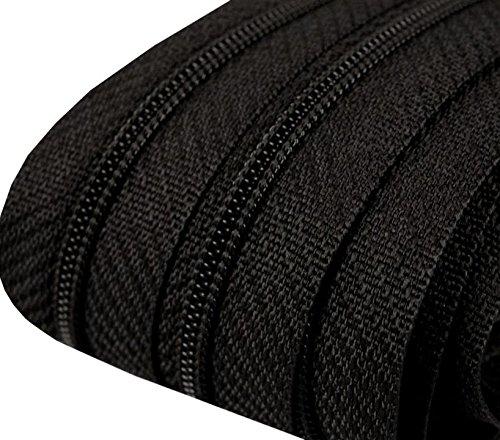 5m Reißverschluss endlos 3mm spiralförmig + 15 Zipper #332 schwarz