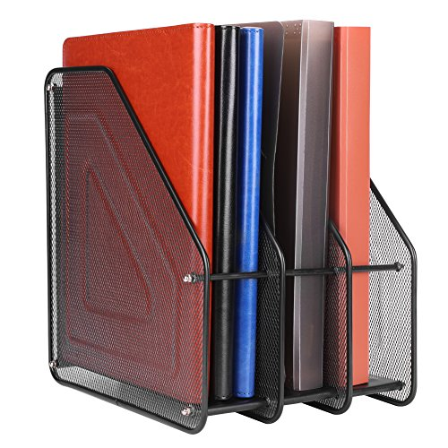 Organizador de escritorio, libros, 4 compartimentos, revistero de malla de alambre, gran capacidad, soporte negro para documentos, oficina, papel, hogar, cuadernos