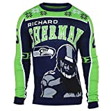 Forever Collectibles Seattle Seahawks Richard Sherman #25 Crewneck NFL Ugly Sweater -