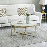 Nordic Living Room Tempered Glass Coffee Table Wrought Iron Round Creative Simple Modern Simple Small Apartment Marble (Color : Blue)