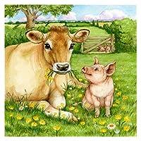 数字の動物による塗料 - 子供のための数字で陽気な子供のための初心者、DIY油絵ギフトキットキャンバスアートクラフトのための壁の装飾 - 豚豚 (Size : 50x60cm)