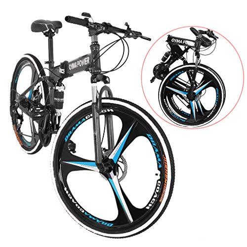 26in Folding Mountain Bike, Full Suspension Outroad Mountain Bikes with Disc Brakes, Shimanos 21 Speed Folding Bicycle Full Suspension MTB Bikes for Men/Women Adult Teens (Black)