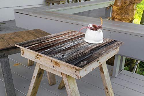 Wallario Aufkleber Selbstklebende Garten-Tisch-Decke - Alte Holzwand - Holzplanken in grau und braun in 70 x 70 cm
