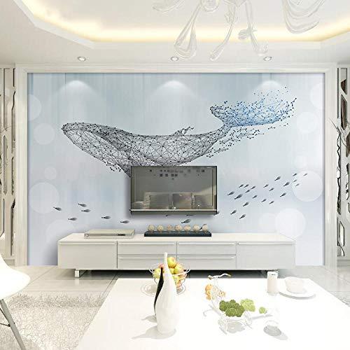 MGQSS Papel pintado Patrón geométrico de pez grande Pintura de la pared Arte de la pared 3D Auto-adhesivo PVC Mural Comida y bebida Tienda de café Restaurante Tema Pared de fondo 3D (W)400x(H)280 cm