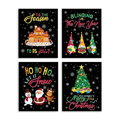 """KAIRNE Christmas Quote Canvas Painting, Happy New Year Art Print Set of 4(8""""X10"""", Unframed), Santa Claus Snowman Snowflakes Wall Poster for Kids Bedroom Playroom Nursery Decor"""
