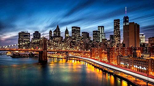 Wooden Jigsaw Puzzle 1000 Pieces,puzzle 1000 Piece Jigsaw Puzzle Kids Adult New York City Brooklyn Bridge Scenery