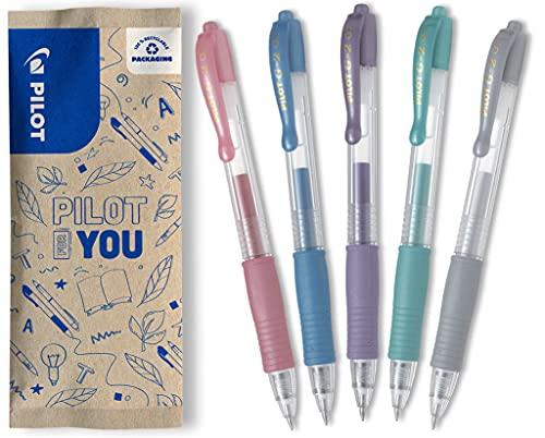 PILOT G2-7 - Juego de 5 bolígrafos de gel (rosa metálico, azul, violeta, verde, plata)