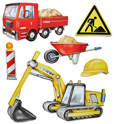 alles-meine.de GmbH 6 TLG. Set: 3-D ! Wandtattoo / XL Sticker aus Pappe - Baustelle Fahrzeuge - selbstklebend Aufkleber / Wandsticker Auto Bagger Baustellenfahrzeuge auch als Fen..