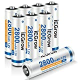 iEGrow AA Akku 2800 mAh 8 Stück - Mignon AA Wiederaufladbare Batterien Typ NI-MH Geringe Selbstentladung, 1.2v AA Akkubatterien