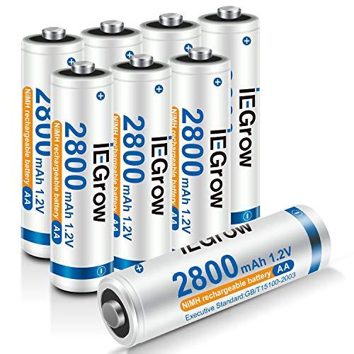 iEGrow Batterie AA Ricaricabili ad Alta Capacità 2800mAh Ni-MH, Bassa Autoscarica, confezione da 8 Piles AA da 1.2V