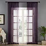 Sheers Curtains 84 inches Long Bedroom Voile Curtain Panels Rod Pocket Sheers Light Filtering Living Room Draperies Window Treatment Set 2 Panels Plum