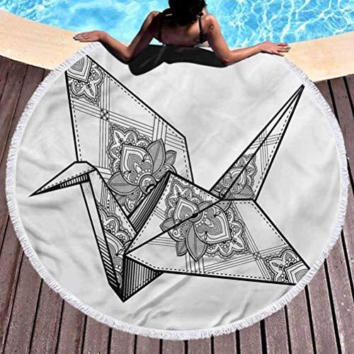 Toalla de Playa Redonda con Estampado artístico Toalla de Playa Redonda Origami Crane Bird Uso Ornamental para niños, Mujeres, Hombres, niños y niñas (diámetro 59 ')