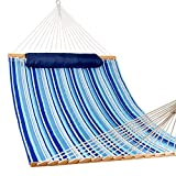 Lazy Daze 12 FT Quilted Fabric Double Hammock with Spreader Bars and Detachable Pillow, 2 Person Hammock for Outdoor Patio Backyard Poolside, 450 LBS Weight Capacity, Mixed Blue Stripes