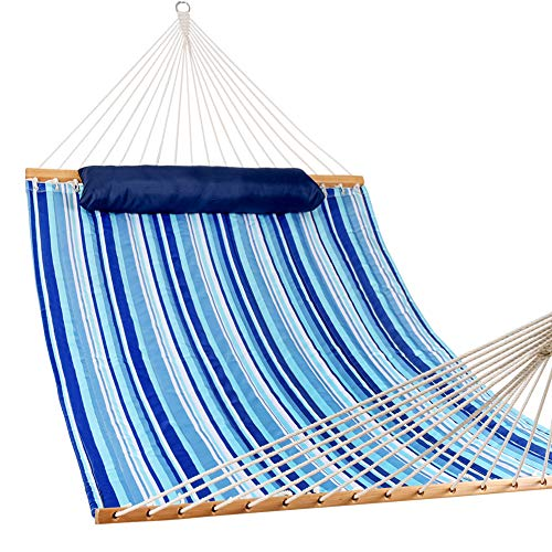 Lazy Daze Hammocks Hammock Quilted Fabric with Pillow for Two Person Double Size Spreader Bar Heavy Duty Stylish, Blue Stripe