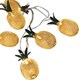 20-LED Golden Metal Mesh Pineapple LED Lantern String Lights Battery Powered Novelty Fairy Lights for Bedroom Wedding Patio Party Xmas Festival Decoration