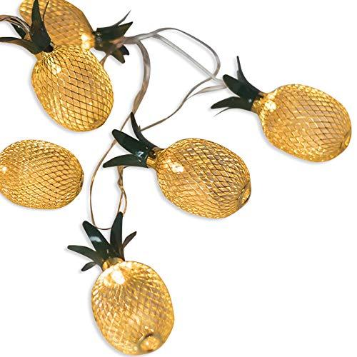 ANZOME LED Lichterketten,20LED Golden Metall Mesh Ananas Lichterkette, Festival - Geschenk - Tischdeko - Schlafzimmer, Batteriebetrieben(2m, Batterie nicht enthalten)
