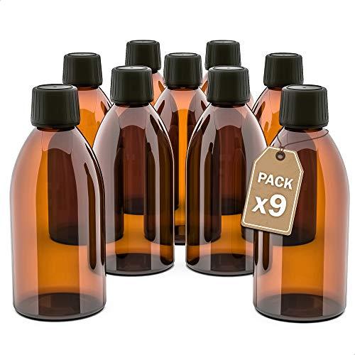 LG Luxury & Grace Pack 9 Frascos de Cristal, 250 ml. Botes de Cristal Ámbar. Tapón de Rosca y Cierre Hermético. Botellas Rellenables. Dosificación y Almacenamiento de Sustancias Líquidas.