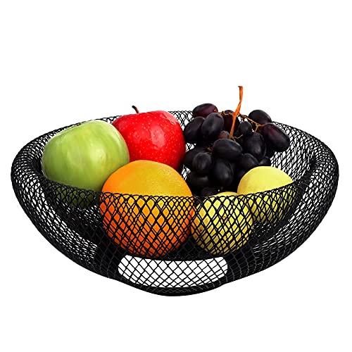 U-A Cesta de Frutas de Alambre de Metal Negro - tazón de Soporte de Almacenamiento Decorativo de 24 cm para Frutas, Verduras y Pan - para cocinas, Casas, decoración de Mesa centros y encimeras