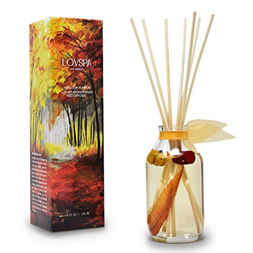 LOVSPA Heirloom Pumpkin Reed Diffuser Sticks Set with Cinnamon, Nutmeg, Warm Clove & Creamy Vanilla, Mini Pumpkin Pods and Fall Leaves Inside The...