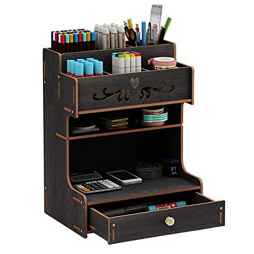 Schreibtisch-Organizer aus Holz, multifunktionale Schublade, Schreibwaren, Schreibtisch-Aufbewahrungsbox, Stifthalter für Zuhause, Büro und Schule Schwarz