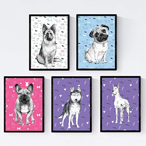 Nacnic Pack de posters de Perros de raza colores. Láminas decorativas de perros. Tamaño A4