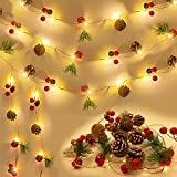 30 LED Christmas Garland with Lights, 10 ft Christmas Pinecone String Lights Red Berry Bell Pine Needle Xmas Decor Battery Operated Fairy String Lights Christmas New Year Holiday Party Decorations