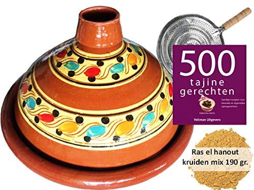 Tajine set voor 6 personen - 190 gr kruiden - incl. kookboek - vlammenverdeler
