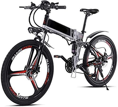 Bicicleta de montaña eléctrica, Adulto plegable bicicleta eléctrica, 350W portátil de aleación de aluminio de la montaña bicicleta eléctrica, la batería de litio y 48V10AH GPS, doble freno de disco 21