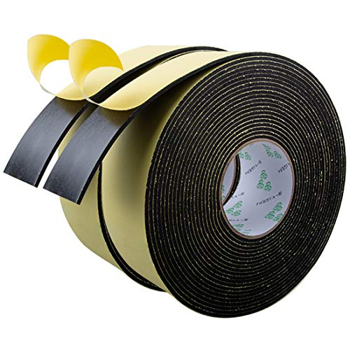 High Density Foam Insulation Tape Adhesive, Seal, Doors, Weatherstrip, Waterproof, Plumbing, HVAC, Windows, Pipes, Cooling, Air Conditioning, Weather Stripping, Craft Tape (66Ft x 1/8'' x 2'')