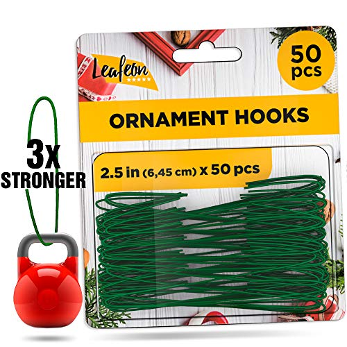 50 Pack Christmas Ornament Hooks – Essential Christmas Ornament Hangers – Great Ornament Hooks for Christmas Tree Decoration (Green)