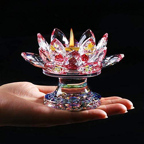 ZAAQ Figurilla Regalos Adornos Decorativas para La Casa Flor de Loto de Cristal Figurita Jardín en Miniatura Adornos Fengshui Candelabro Budista Moderno