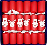 Crackers Ltd Set of 6 Clockwork Racers Christmas Crackers - Red Pearl Kraft Paper with Santa and Snowman Motif (Cat F1)